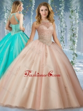 Fashionable Halter Top Champagne Quinceanera Dress with Appliques and Beading SJQDDT525002FOR