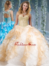 Fashionable Organza and Rolling Flowers Big Puffy Quinceanera Dress in Champagne and WhiteSJQDDT573002FOR