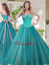 Gorgeous A Line Brush Train Quinceanera Gown with Beading and Sash SJQDDT710002FOR