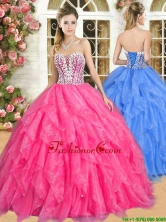 Gorgeous Hot Pink Quinceanera Dress with Beading and Ruffles YSQD012FOR