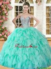 Hot Sale Apple Green Sweet 16 Dress with Beading and Ruffles YSQD008-1FOR