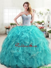 Inexpensive Beaded and Ruffled Turquoise Quinceanera Dress in Organza YYPJ031-2FOR