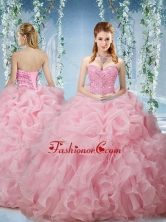 Lovely Baby Pink Brush Train Quinceanera Dresses Beaded and Ruffled SJQDDT577002FOR