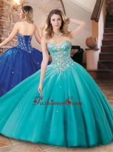 Lovely Big Puffy Tulle Aqua Blue Quinceanera Dress with Beading XFQD1048FOR