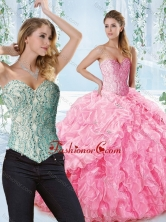 Lovely Rose Pink Detachable Quinceanera Dress with Beaded Bodice and Ruffles SJQDDT538002AFOR