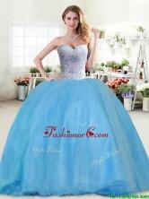 Modest Beaded Tulle Sweet 16 Dress in Baby Blue YYPJ030-1FOR