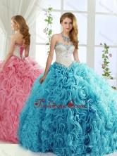 Modest Brush Train Beaded Baby Blue Detachable Sweet 15 Gowns in Rolling FlowersSJQDDT557002AFOR