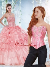 Modest Visible Boning Organza Detachable Quinceanera Dress with Beaded Bodice SJQDDT534002AFOR