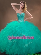 New Arrivals Beaded and Ruffles Quinceanera Gowns in Turquoise SWQD050MT-1FOR