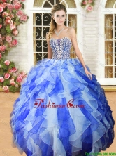 New Royal Blue and White Quinceanera Dress with Beading and Ruffles YSQD011-1FOR