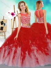 New Style Two Piece Scoop Quinceanera Dress with Beading and RufflesSJQDDT602002FOR