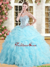 Perfect Applique and Ruffled Quinceanera Dress in Baby Blue  YSQD001-1FOR