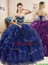 Perfect Big Puffy Navy Blue Quinceanera Dress with Beading and Ruffles YYPJ036FOR