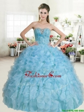 Popular Beaded and Ruffled Baby Blue Quinceanera Dress in Organza YYPJ052-2FOR