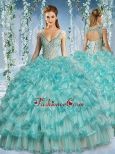 Popular Deep V Neck Big Puffy Sweet 16 Dress with Beaded Decorated Cap SleevesSJQDDT585002FOR