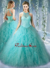 Popular Mint Quinceanera Dress With Beaded Decorated Bodice and High Neck SJQDDT529002FOR