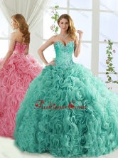 Popular Rolling Flower Mint Detachable Quinceanera Dresses with Brush TrainSJQDDT561002FOR