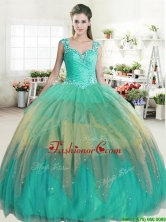 Popular Straps Rainbow Quinceanera Dress with Beading and Ruffled Layers YYPJ038-1FOR