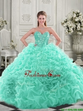 Pretty Puffy Skirt Visible Boning Apple Green Sweet 16 Dress with Beading and Ruffles QDDTA121002-1FOR