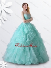 Princess Apple Green Quinceanera Gown with Beading and Ruffles XFQD1034FOR