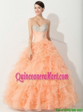 Princess Orange Quinceanera Gown with Beading and Ruffles THQD002FOR