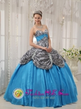 Pueblo Bello Colombia Wholesale Cheap Aqua Blue Zebra Ruffles Sweet 16 Dress With Sweetheart Taffeta ball gown For Quinceanera  Style QDZY360FOR