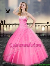Really Puffy Pink Quinceanera Gowns with Beading and Appliques XFQD003-1FOR
