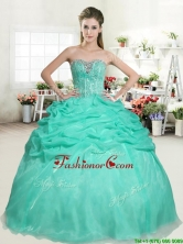 Romantic Apple Green Sweet 16 Dress with Beading and Pick Ups YYPJ051-1FOR