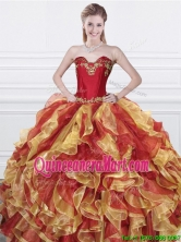Romantic Applique and Ruffled Organza Quinceanera Dress in Red and Yellow QDDTN2002FOR