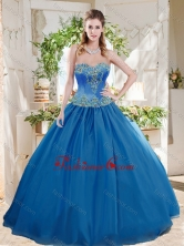 Romantic Big Puffy Blue Quinceanera Dress with Beading and Appliques SJQDDT720002FOR