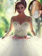 Scoop Beaded White Sweet 16 Dress with Long Sleeves XFQD1067FOR