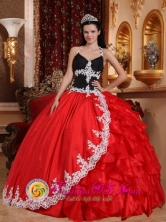 Silvania Colombia Wholesale V-neck  Appliques Embellishment Red and Black Floor-length Quinceanera Dress For Celebrity Style Style QDZY719FOR