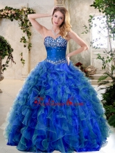 Simple A Line Sweetheart Quinceanera Gowns with Beading and Ruffles SJQDDT396002-1FOR