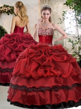 Simple Ball Gown Beading and Pick Ups Sweet 16 Gowns in Wine Red SJQDDT394002-1FOR