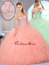 Simple Ball Gown Quinceanera Dresses with Beading and Ruffles SJQDDT376002FOR