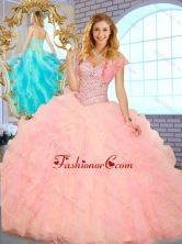 Simple Ball Gown Sweetheart Quinceanera Dresses with Beading and Ruffles SJQDDT378002-1FOR