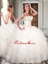 Simple Strapless White Quinceanera Dresses with Appliques and Beading XFQD1009FOR