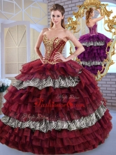 Simple Sweetheart Ball Gown Ruffled Layers and Zebra Sweet 16 Dresses QDDTL1002-1FOR
