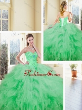 Simple Sweetheart Beading and Ruffles Quinceanera Dresses SJQDDT369002-1FOR
