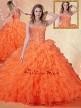 Simple Sweetheart Ruffles Quinceanera Dresses in Orange Red SJQDDT404002FOR
