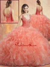 Simple V Neck Sweet 16 Gowns with Ruffles and Appliques SJQDDT418002FOR