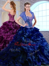 SimpleBrush Train Ruffles and Appliques Quinceanera Dresses in Royal Blue QDDTM1002-2FOR