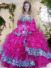 Strapless Zebra and Hot Pink Quinceanera Dresses with Ruffles and Bowknot XFQD1052FOR