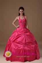 Tulua Colombia Customized Hot Pink Halter Wholesale Quinceanera Dress Beading and Pick-ups  Style FOR