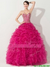 Visible Boning Hot Pink Quinceanera Gown with Beading and Ruffles THQD001FOR