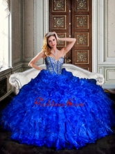 Visible Boning Royal Blue Quinceanera Dresses with Beading and Ruffles XFQD1013FOR