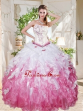 Wonderful Asymmetrical Big Puffy Sweet 16 Dress with Beading and Ruffles SJQDDT694002FOR