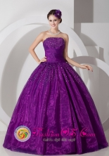 2013 A-line Strapless Lovely Purple Ball Gown With Ruched and Beading IN Cochabamba Bolivia Style JSY080808FOR