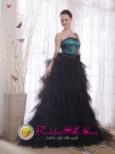 2013 Bagua Grande Peru One Shoulder Appliques and Ruch Black and Blue wholesale Princess Brush Train Tulle Celebrity Dress Style PDHXQ042FOR