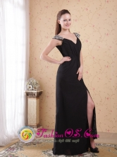 2013 Huacho Peru Black Column V neck and open back Brush Train Chiffon Beading and Ruch Prom Dress Style PDHXQ016FOR